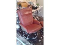 Red Leather Recliner Chair With Footstool