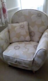 Arm chair retro design large floral print pale green shades as new less than 2,yr old