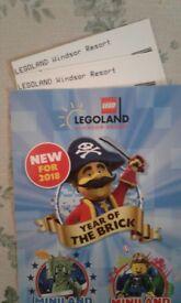 Legoland Windsor tickets. X2. Friday september 21st 2018.