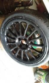 205 45 17 black straight wheel tyre no good wheel Ok