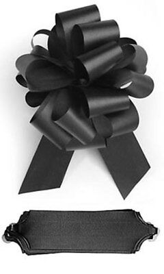 25 BLACK SATIN PULL BOWS GIFT WRAP SUPPLIES Christmas Gifts Wedding Wreaths
