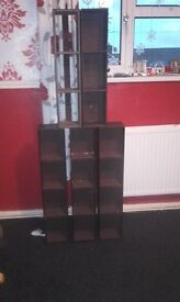 6 DVD Storage towers, all 6 in dark brown leather effect £5 each or take all 6 for £ 15