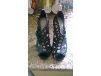KAREN MILLEN Black Glitter Stiletto Heels Size 5 Ex Cond Worn Once