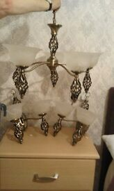 USED ANTIQUE BRASS 5 ARM CEILING LIGHT + 2 DOUBLE WALL LIGHTS IN GREAT CONDITION