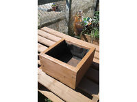 "New 1fx1f 6"" deep solid pine cube planter £20"