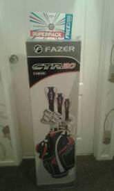Brand new unopened Fazer golf set and bag. With set of unopened Calloway golf balls.
