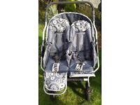 PRO COSMO Twin Stroller, Pram, Double Pushchair, Unisex Lemon & Grey Shop Condition 71 cm Wide