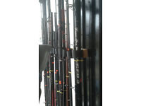 large assortment of fishing tackle inc rods reels end tackle bags boxes etc etc