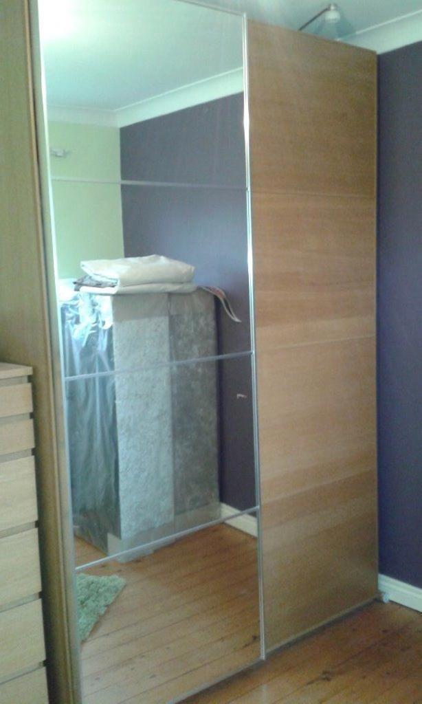 Ikea Pax Quality Oak Wood Double Tall Wardrobe Mirror Door Bedroom ...