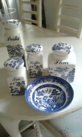 willow pattern storage jars and crockery
