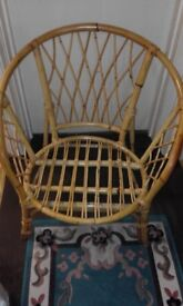 WICKER CHAIRS 2 ONE BROWN ONE WHITE