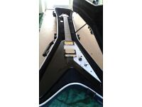Epiphone goth flying v modded and with case
