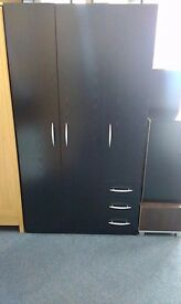 New Black Triple Wardrobe with 3 Drawers