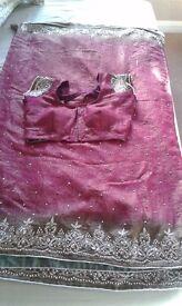 indian asian silk sari stone work