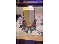 Multi coloured Necklace and Scarf Set.