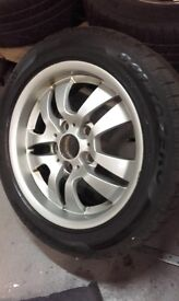 """16""""Bmw alloys with Winter tyre -one winter left on them.£150 ono."""