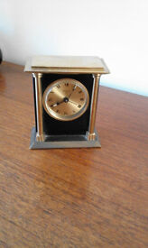Swiss Desk Clock, Attractive, robust in brass/gold and black.