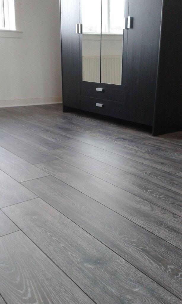 8mm Winter Grey And Charcoal Laminate Flooring Fully Ed 5x4 20m2 Underlay Beading Ing