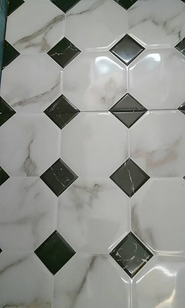 CERAMIC MARBLE EFFECT With Black diamond pattern..600mm 8 tiles.Victoria Plumbing