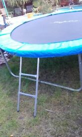 Large 10ft heavy duty trampoline with ladder and side safety net.