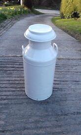 Ivory powder coated 10 gallon milk churn