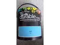 Wilko Durable Matt Emulsion Paint 'Surf' Blue 2.5L. Washable & Scruff resistant. New & Unopened.
