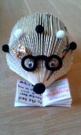 Handmade from a book, teacher hedgehog