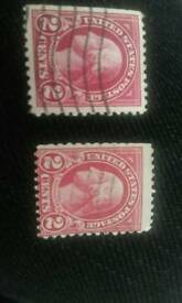 Rare Antique 2Cents Washington Red lines & Leaves Stamps