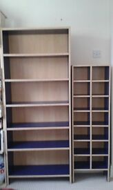 Matching shelves and CD shelf unit. Blue.