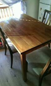 Solid pine table 4 chairs