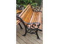 """Cast Iron Garden Bench """"Fleur de Leys"""" Design."""