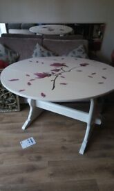 Pink Magnolia, Drop leaf, Mid century, Professionally Up-cycled, Dining Table