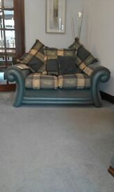 Fabric and leather two seater sofa