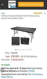 new 6ft blow moulded folding tresste table camping or garden