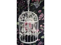 Stunning Shabby Chic Large Cream BIRDCAGE Ceiling Light / Chandelier with 3 Bulb Fittings