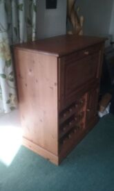 Antique Pine Cabinet with wine rack