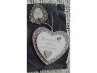 Wooden and bristle hearts