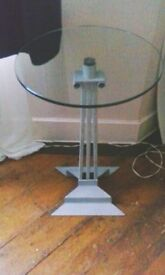 Glass Side/End Table With Decorative Pedestal Column Base