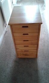 SIX DRAWER PINE UNIT