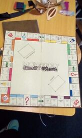 Vintage monopoly board and playing pieces set