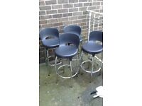 4 x stools black seats crome legs with lall round rest