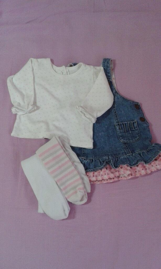 0-3 mnth Baby Girl Pinafore Dress, long sleeve Shirt and 2x Tight bundle