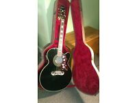 Stunning Epiphone Jumbo Acoustic Guitar Electric Black with Rare German imported case.. £300 ono