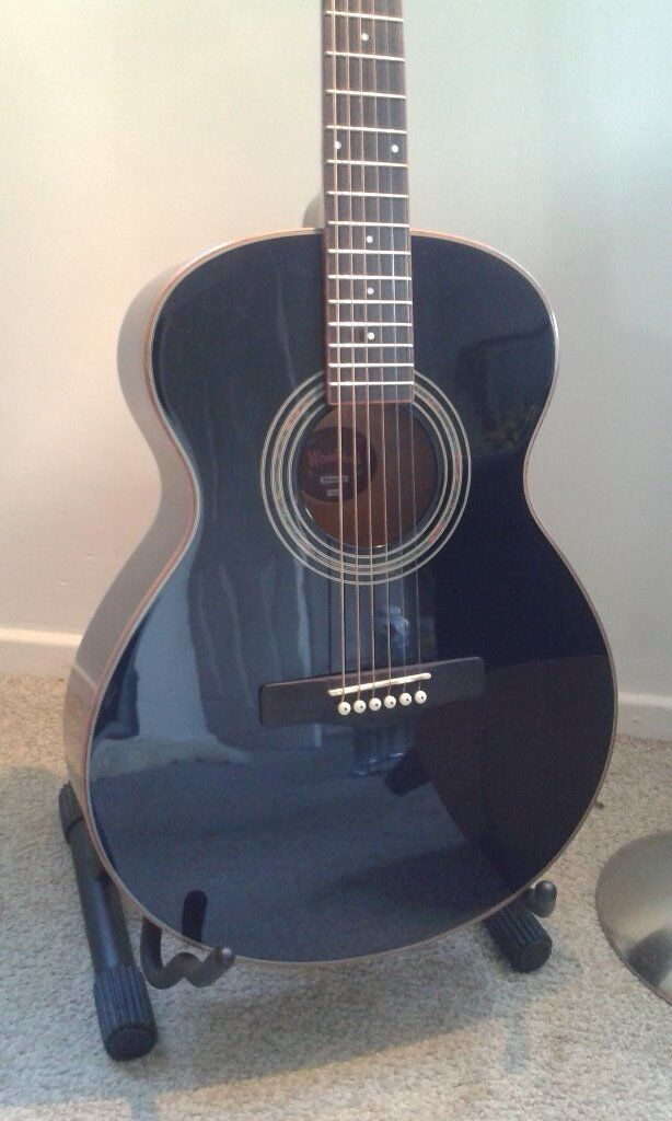 Acoustic Guitar Folk Size in Gloss Black - by Woodstock WHW40301BK BNIB