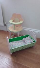 Dolls Wooden Cradle and High Chair