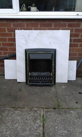 marble hearth back panel and electric fire