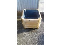 Square Solid Treated Redwood Garden/Patio Tub