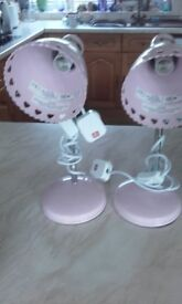 2 x New Bedside / Table Lamps Pink