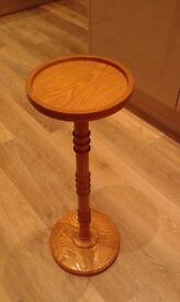 Solid Real Wood Side Table Stand. Handmade Carved with turned pillar and base.