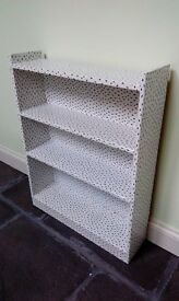 Shelving unit, white with navy spots